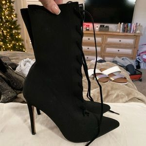 Stretch Lace Up ALDO Black Heeled Boots